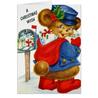 En björn för brevbärare för julWishSanta helgdag OBS Kort