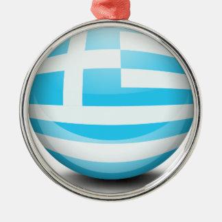 En boll med flagga av Grekland Rund Silverfärgad Julgransprydnad