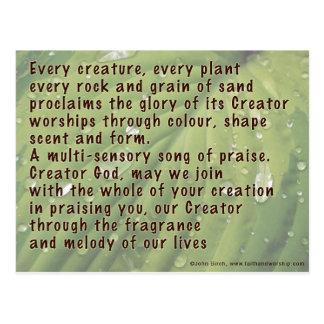 En bön av beröm för skapelse vykort