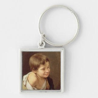 En bondaktig pojkebenägenhet på en Sill, 1670-80 Fyrkantig Silverfärgad Nyckelring