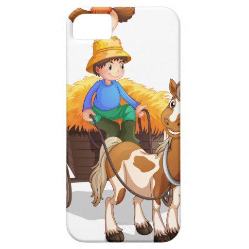 En bonde som rider en vagn med en höna ovanför iPhone 5 Case-Mate fodral