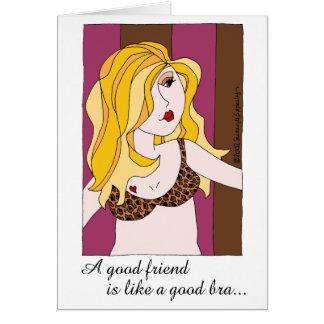 En bra vän är lik en bra behåflickvänhumor hälsningskort