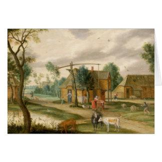 En by landskap hälsningskort