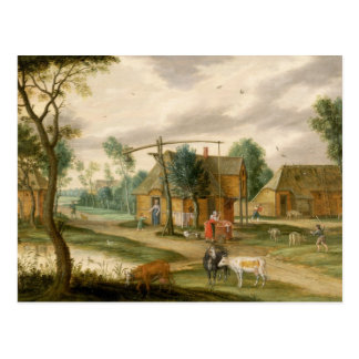 En by landskap vykort