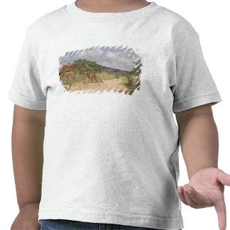En byplats olja på kanfas tee shirt