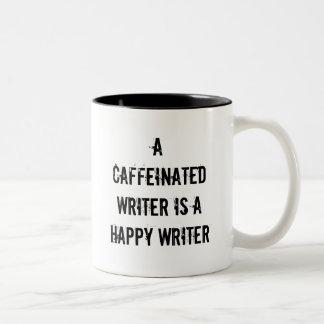 En Caffeinated författare är en lycklig Två-Tonad Mugg