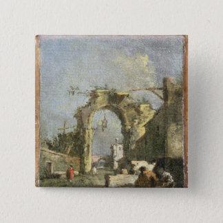 En Capriccio - fördärvar, det 18th århundradet Standard Kanpp Fyrkantig 5.1 Cm