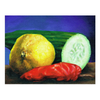 En citron och en gurka vykort