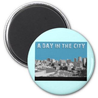 En dag i staden magnet rund 5.7 cm