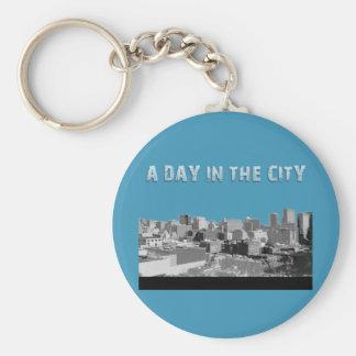 En dag i staden rund nyckelring