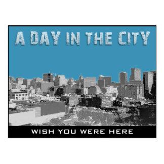 En dag i staden vykort