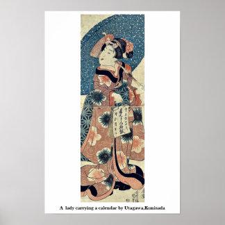 En dam som bär en kalender vid Utagawa, Kunisada Print
