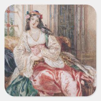 En dam som placeras i en Ottoman inre ha på sig Fyrkantigt Klistermärke