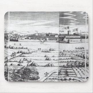 En dela upp av en karta av Milan, 1640 Mus Matta