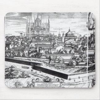 En dela upp av en karta av Milan, 1640 Musmatta
