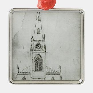 En design för en kyrka, 1821 julgransprydnad metall