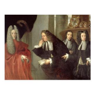 En domare och tre förkämpar som är venetian skolar vykort