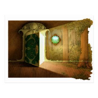 En dörr till. vykort