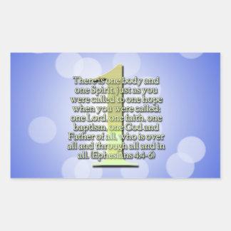 EN Ephesians 4:4 - SCRIPTURE för 6 BIBEL Rektangulärt Klistermärke