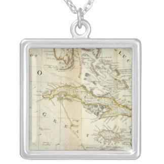 En exakt karta av den Nordamerika södra del Halsband Med Fyrkantigt Hängsmycke