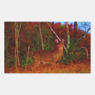 En färgrik hjort på solnedgången rektangulärt klistermärke