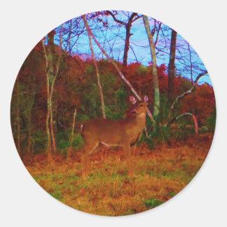En färgrik hjort på solnedgången runt klistermärke