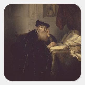 En filosof, 1635 (olja på panel) fyrkantigt klistermärke