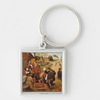 En Flemish Kermesse Fyrkantig Silverfärgad Nyckelring