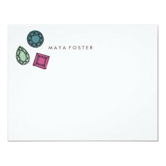 En flicka bästa vänbrevpapper - kol 10,8 x 14 cm inbjudningskort