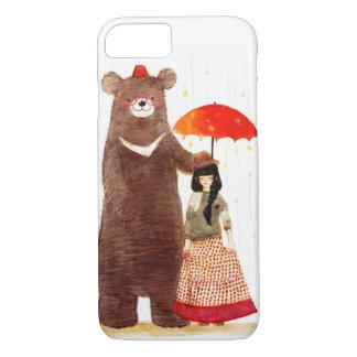 En flicka och ett fodral för plus för iPhone 7 för