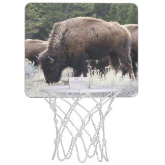 En flock av den bruna bisonen betar i en gräs- äng Mini-Basketkorg