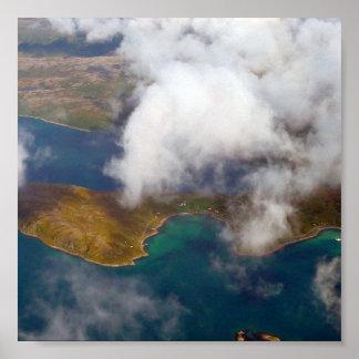 En flygbild av fjordsna i norge print