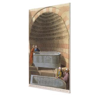 En forntida sarkofag av Basaltes som kallas Loven Canvastryck
