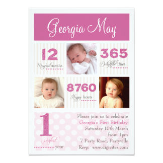 En första födelsedag för första årsflicka 12,7 x 17,8 cm inbjudningskort