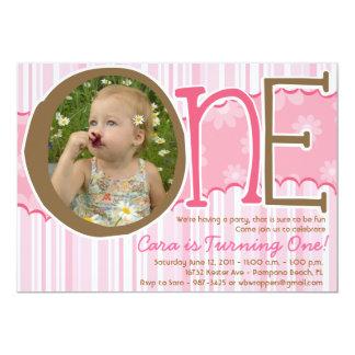 EN - Första födelsedaginbjudan för flickor 12,7 X 17,8 Cm Inbjudningskort