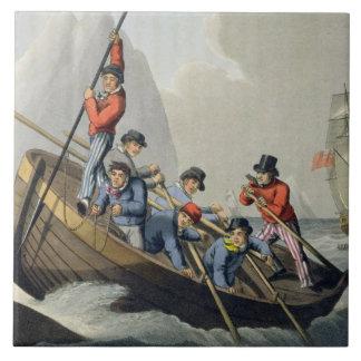 En frakt fartyg som anfaller ett val som inristas  kakelplatta