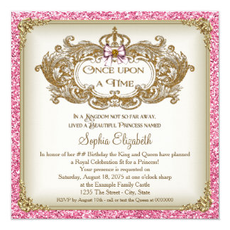 En gång på en Time Princess födelsedagsfest Fyrkantigt 13,3 Cm Inbjudningskort