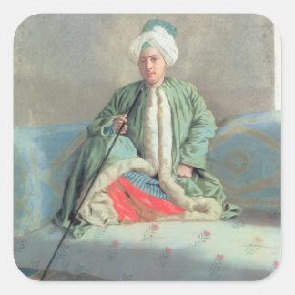 En gentleman som placeras på en soffa fyrkantigt klistermärke