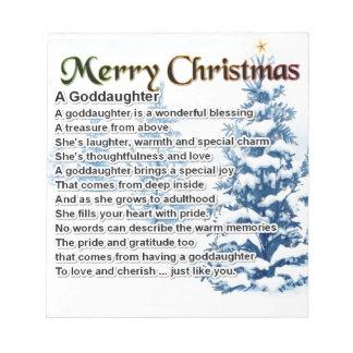 En goddaughterdikt - juldesign anteckningsblock
