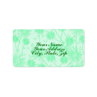 En grön maskros adressetikett