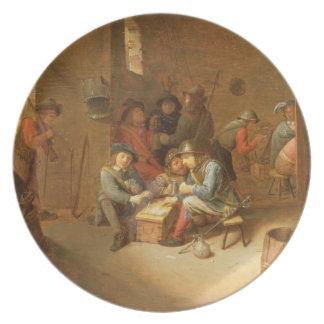 En Guardroominsida med soldater som leker kort ( Dinner Plate
