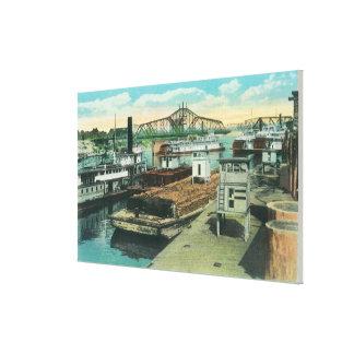 En hamnsändningsplats på Sacramento River Canvastryck