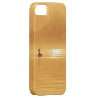 En härlig silhouette av en svan på soluppgången iPhone 5 hud