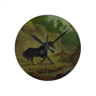 En häst som skrämmas av en orm, 1792 (olja på kanf rund klocka