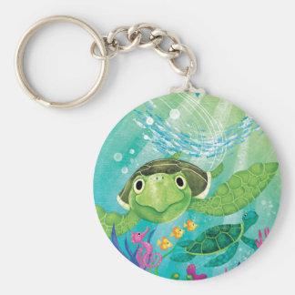 En havssköldpaddarädding rund nyckelring