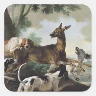 En hjort som jagas av hundar, 1725 fyrkantigt klistermärke