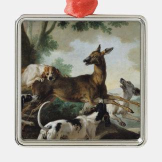 En hjort som jagas av hundar, 1725 julgransprydnad metall