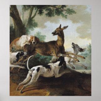 En hjort som jagas av hundar, 1725 poster