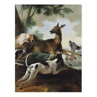 En hjort som jagas av hundar, 1725 vykort