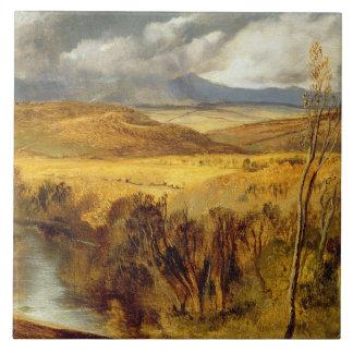 En högland landskap, c.1825-35 (olja ombord) kakelplatta